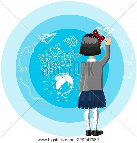 Color Picture Cartoon Character Of Little School Girl With Short Black Hear And Chalk At Hand, Stand