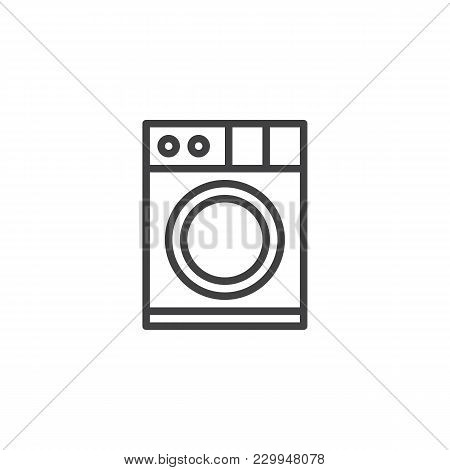 Washing Machine Outline Icon. Linear Style Sign For Mobile Concept And Web Design. Clothes Washer Si