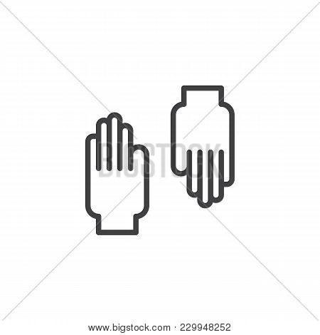 Rubber Gloves Outline Icon. Linear Style Sign For Mobile Concept And Web Design. Protective Gloves S