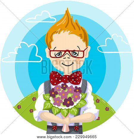 Color Picture Cartoon Character Of A Little School Boy, Day Of Knowlege, To Give A Bouquet Of Flower