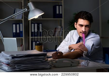 Employee relieving stress from overtime with drugs narcotics