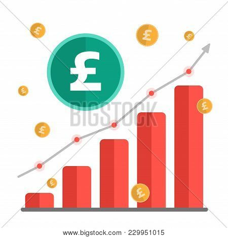 Growing Money Concept. Uk Pound Sign With Chart, Rising Arrow And Coins. Vector Illustration.