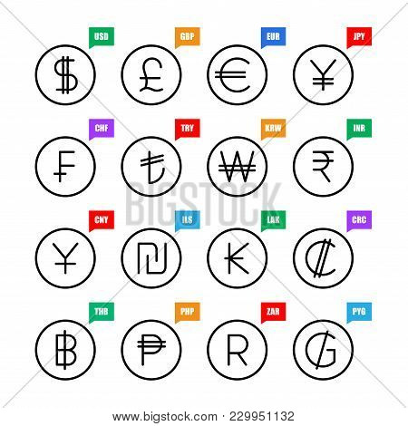 Currency Signs. Money Vector Icons: Us Dollar, Uk Pound, Euro, Japanese Yen, Swiss Franc, Turkish Li