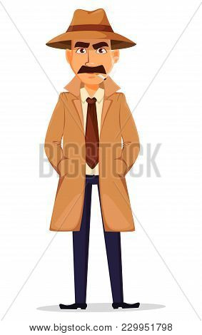 Detective In Hat And Coat. Handsome Cartoon Character Standing With Hands In Pockets And Smoking A C