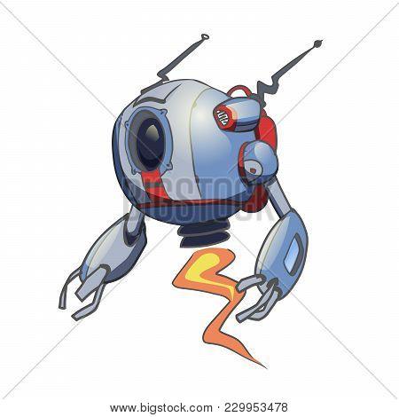 Flying Spherical Robot. Vector Illustration, Isolated On White Background.