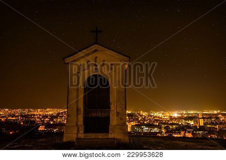 City Night In Nitra From The View Point On Top Of Hill (mountain) Slovak City Nitra With Bright Nigh