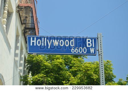 Signposts Of Hollywood Boulevard On The Walk Of Fame In Hollywood Boluvedard. July 7, 2017. Hollywoo
