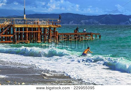 Pizunda, Abkhazia - October 4, 2014: The Black Sea In Autumn.