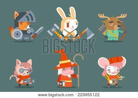 Animal Fantasy Game Rpg Heroes Character Vector Icons Set Flat Design Vector Illustration