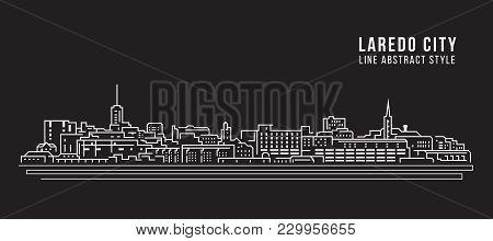 Cityscape Building Line Art Vector Illustration Design - Laredo City