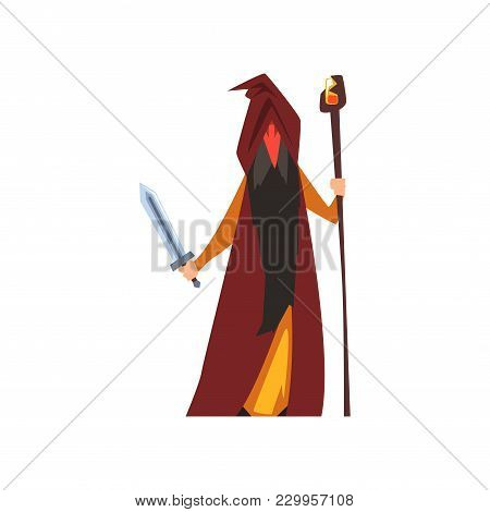 Magician Wizard, Fantasy Magical Character Vector Illustration Isolated On A White Background.