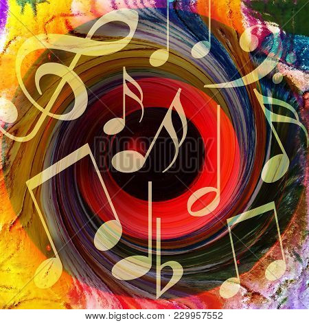 Colorful Music Background With Musical Notes And A Huge Loud Speaker