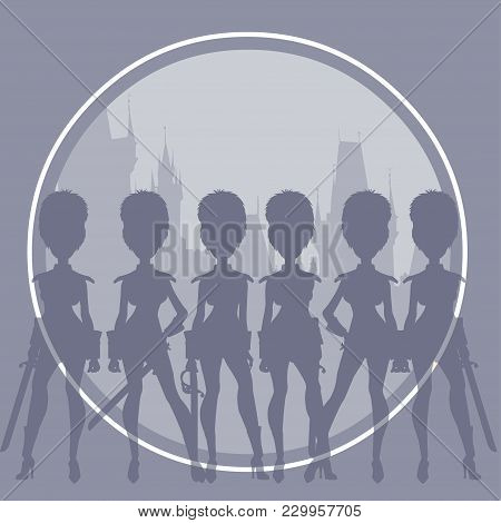 Silhouettes Of Cartoon Women In Sexy Clothes Imitating Soldiers Of The Royal Guard On The Background