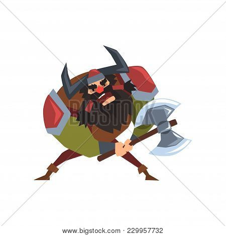 Viking Warrior Character In Helmet With Horns And Battle Ax Vector Illustration Isolated On A White