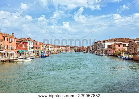Daylight View To Venetian Lagoon And Parked Boats