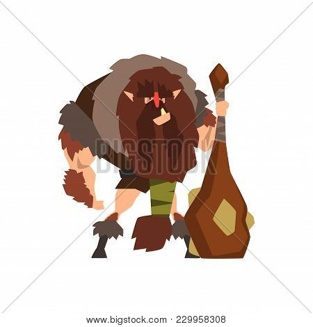 Caveman In Animal Skin With A Cudgel, Stone Age Character Vector Illustration Isolated On A White Ba