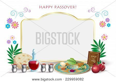Happy Passover Jewish Holiday Greeting Card With Copy Space For Text, Decorative Vintage Floral Fram
