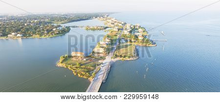 Aerial View Of Seabrook City Near Texas Gulf Coast And Clear Lake