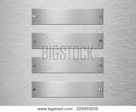 metal plates or nameboards with rivets 3d illustration