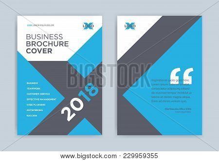 Brochure Cover Design In Blue Color - Abstract Business Vector Template. Brochure Design, Banner, An