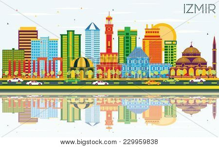 Izmir Turkey City Skyline with Color Buildings, Blue Sky and Reflections. Business Travel and Tourism Concept with Modern Architecture. Izmir Cityscape with Landmarks.