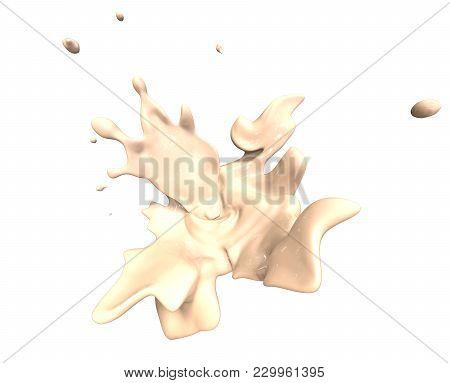 Milk Liquid Whirl And Splash Liquid Isolated On White Background In 3d Illustration. Splashing Rende