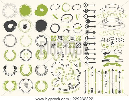 Vector Illustration With Design Illustrations For Decoration. Big Silhouettes Set Of Wreaths, Illust