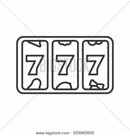 Slot Machine With Three Sevens Linear Icon. 777. Lucky Seven. Thin Line Illustration. Casino Contour