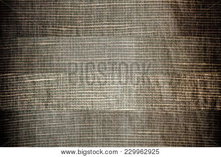 Neutral Gray Linen Close-up Texture Or Background, Different Line Separated Fabric.