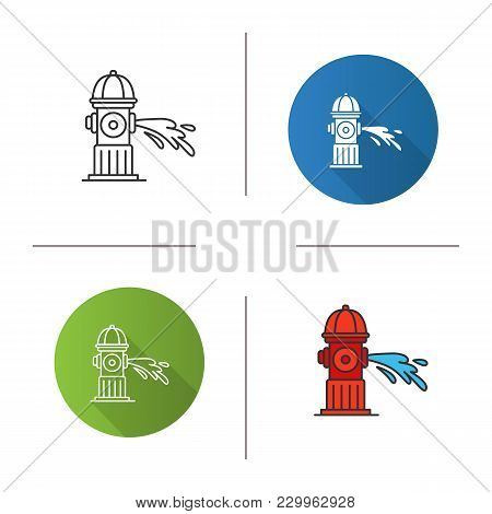 Fire Hydrant Gushing Water Icon. Flat Design, Linear And Color Styles. Fireplug. Isolated Vector Ill