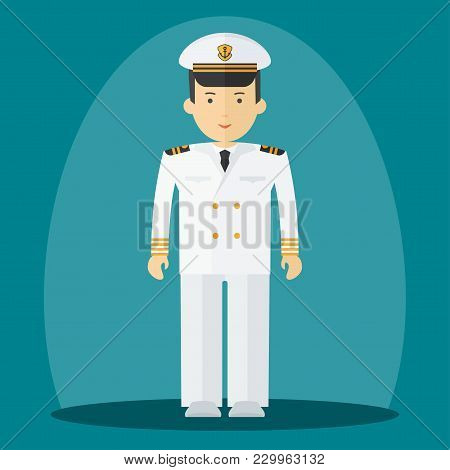 Captain Of Ship In White Suit. Command Of Military Cruiser, A Cruise Liner. Flat Vector Cartoon Illu