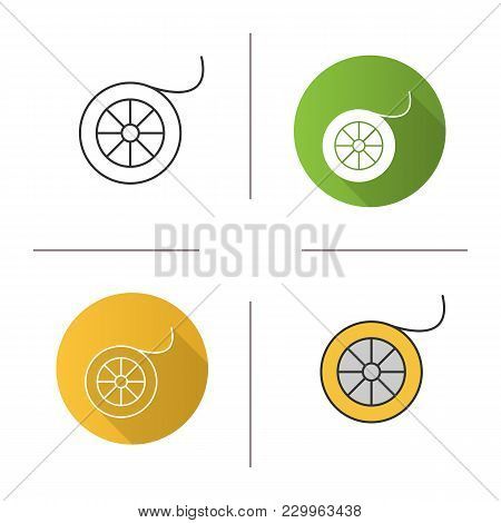 Fishing Line Spool Icon. Flat Design, Linear And Color Styles. Angling Equipment. Isolated Vector Il