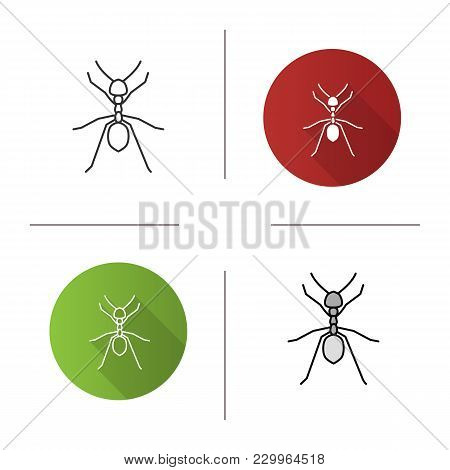 Ant Icon. Flat Design, Linear And Color Styles. Isolated Vector Illustrations