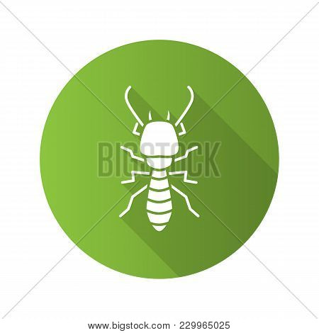 Termite Flat Design Long Shadow Glyph Icon. White Ant. Vector Silhouette Illustration