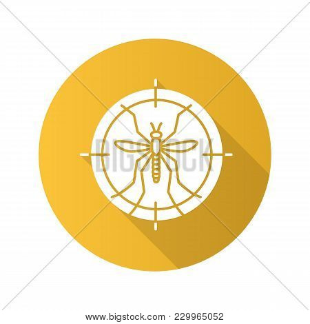 Mosquitoes Target Flat Design Long Shadow Glyph Icon. Anti-insect Repellent. Vector Silhouette Illus