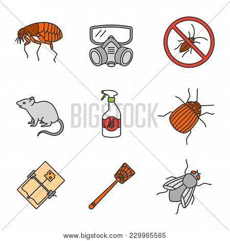 Pest Control Color Icons Set. Flea, Respirator, Cockroaches Repellent, Mouse Trap, Rodent, Colorado