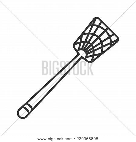 Fly-swatter Linear Icon. Houseflies, Wasps, Moths, Gnats Killing Device. Thin Line Illustration. Con