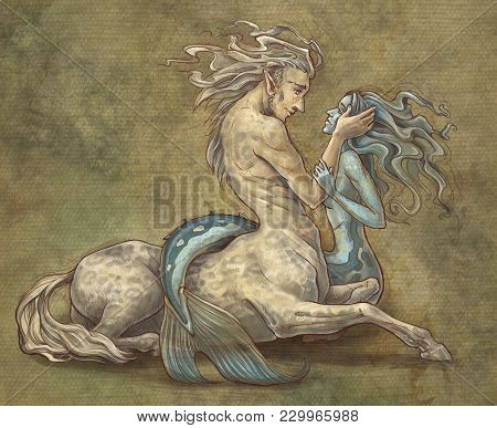 Centaur And Mermaid Are In Love Each Other