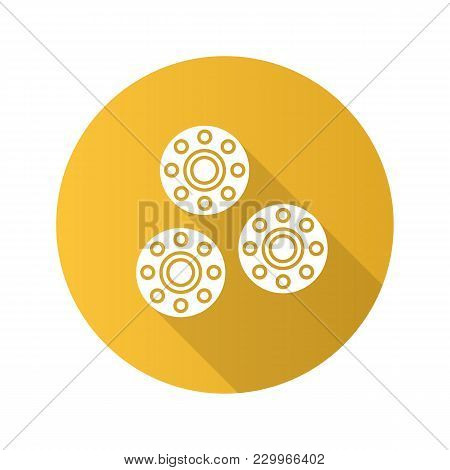 Bobbins Flat Design Long Shadow Glyph Icon. Sewing Machine Part. Vector Silhouette Illustration