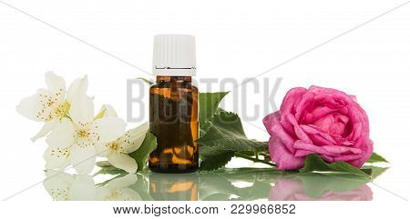 Liquid With Floral Fragrance For Smoking Electronic Cigarette, Isolated On White Background