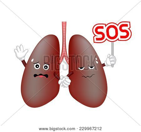 Damage Lung Troubled Character Holding Sos Sign. Requires Care Or Medical Treatment Due To Disease O