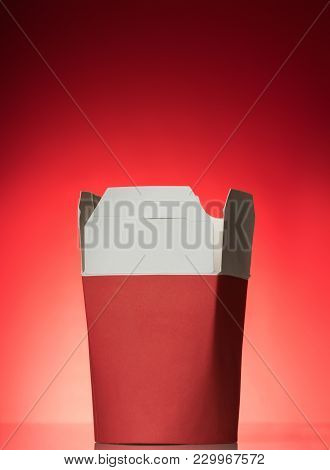 Special Wok Box For Ready-made Fast Food Packaging, On Bright Red Background