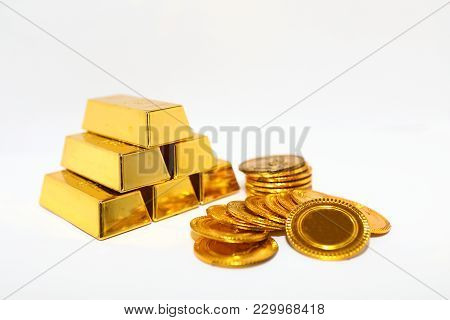 Gold Bar Pile Gold Coin Isolated White Background