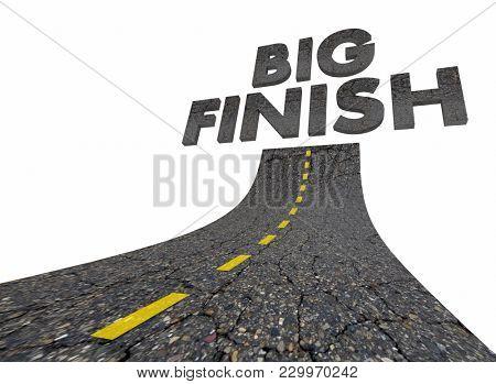 Big Finish Words Road Great Ending 3d Illustration