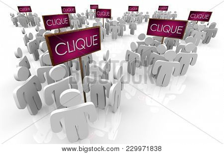 Clique Signs Groups People Gathered Friends 3d Illustration