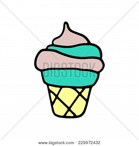 Sweet Cartoon Hand Drawn Ice Cream. Cute Vector Colorful Doodle Ice Cream. Isolated Funny Ice Cream