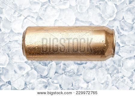 Can of fresh beer on ice