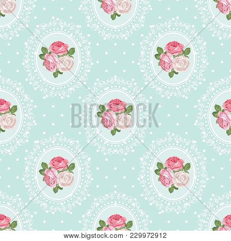 Shabby Chic Rose Seamless Pattern On Polka Dot Background. Vector Illustartion.