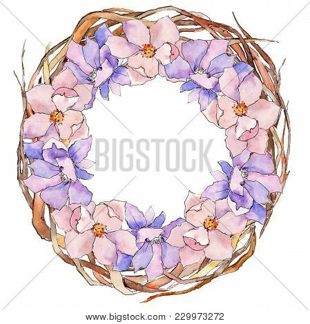 Wildflower Magnolia Flower Wreath In A Watercolor Style. Full Name Of The Plant: Magnolia. Aquarelle