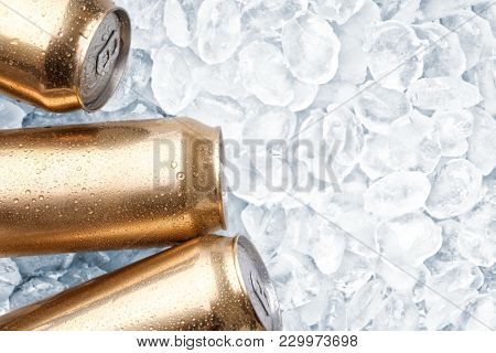Cans of fresh beer on ice